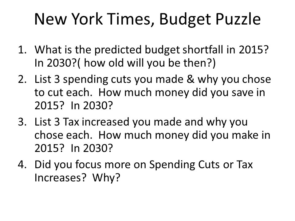 New York Times, Budget Puzzle 1.What is the predicted budget shortfall in 2015.