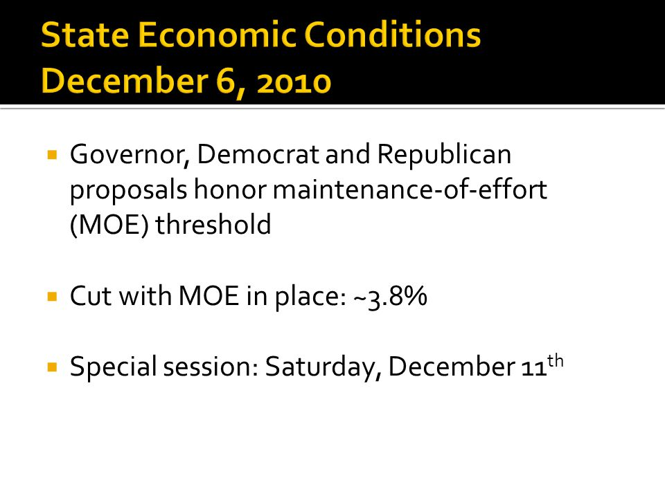  Governor, Democrat and Republican proposals honor maintenance-of-effort (MOE) threshold  Cut with MOE in place: ~3.8%  Special session: Saturday,