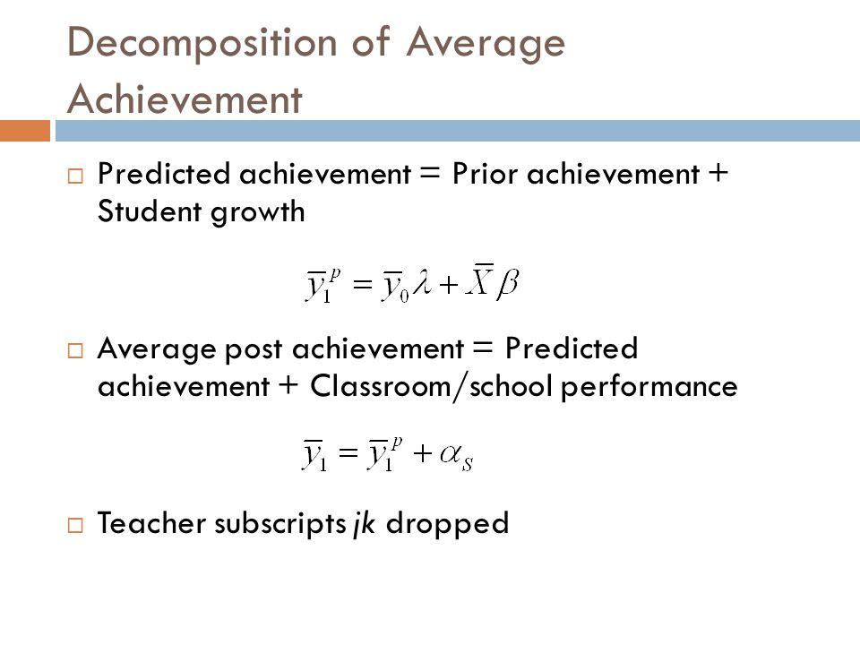 Decomposition of Average Achievement  Predicted achievement = Prior achievement + Student growth  Average post achievement = Predicted achievement + Classroom/school performance  Teacher subscripts jk dropped