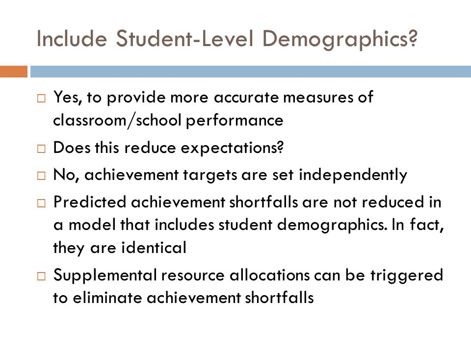 Include Student-Level Demographics.