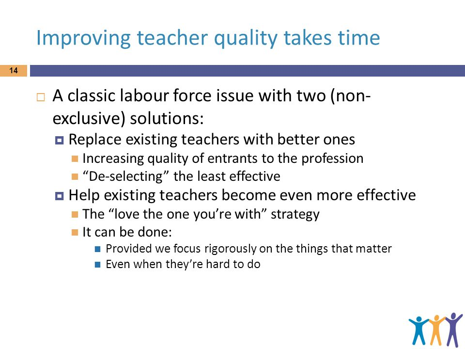 Improving teacher quality takes time  A classic labour force issue with two (non- exclusive) solutions:  Replace existing teachers with better ones Increasing quality of entrants to the profession De-selecting the least effective  Help existing teachers become even more effective The love the one you're with strategy It can be done: Provided we focus rigorously on the things that matter Even when they're hard to do 14