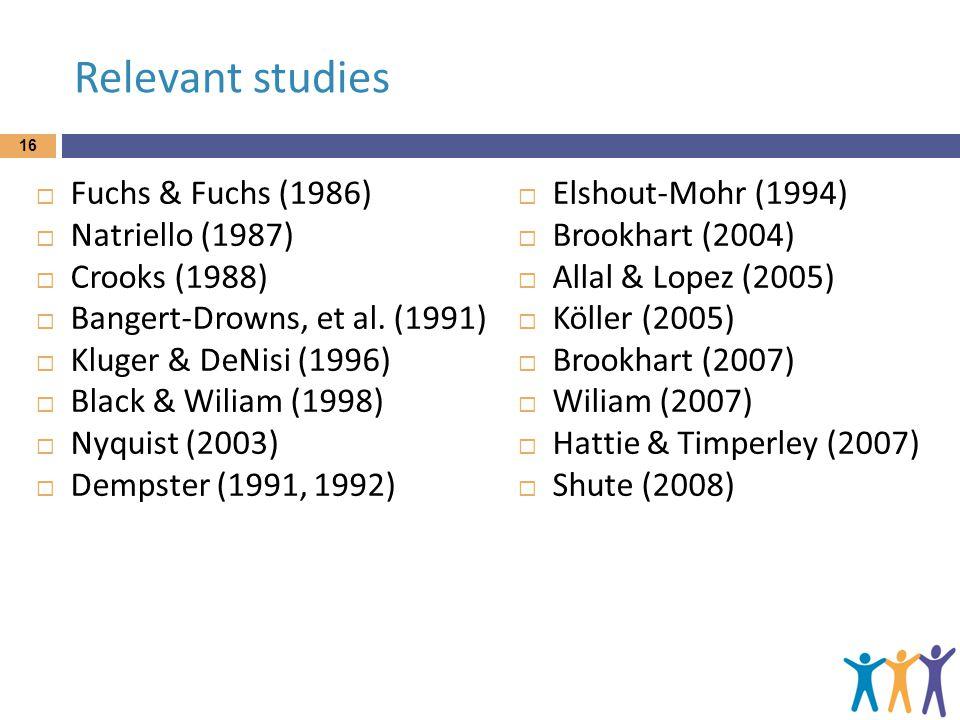 Relevant studies  Fuchs & Fuchs (1986)  Natriello (1987)  Crooks (1988)  Bangert-Drowns, et al.