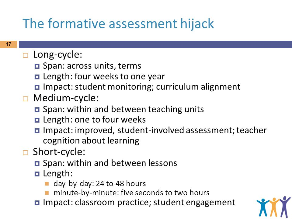 The formative assessment hijack  Long-cycle:  Span: across units, terms  Length: four weeks to one year  Impact: student monitoring; curriculum alignment  Medium-cycle:  Span: within and between teaching units  Length: one to four weeks  Impact: improved, student-involved assessment; teacher cognition about learning  Short-cycle:  Span: within and between lessons  Length: day-by-day: 24 to 48 hours minute-by-minute: five seconds to two hours  Impact: classroom practice; student engagement 17