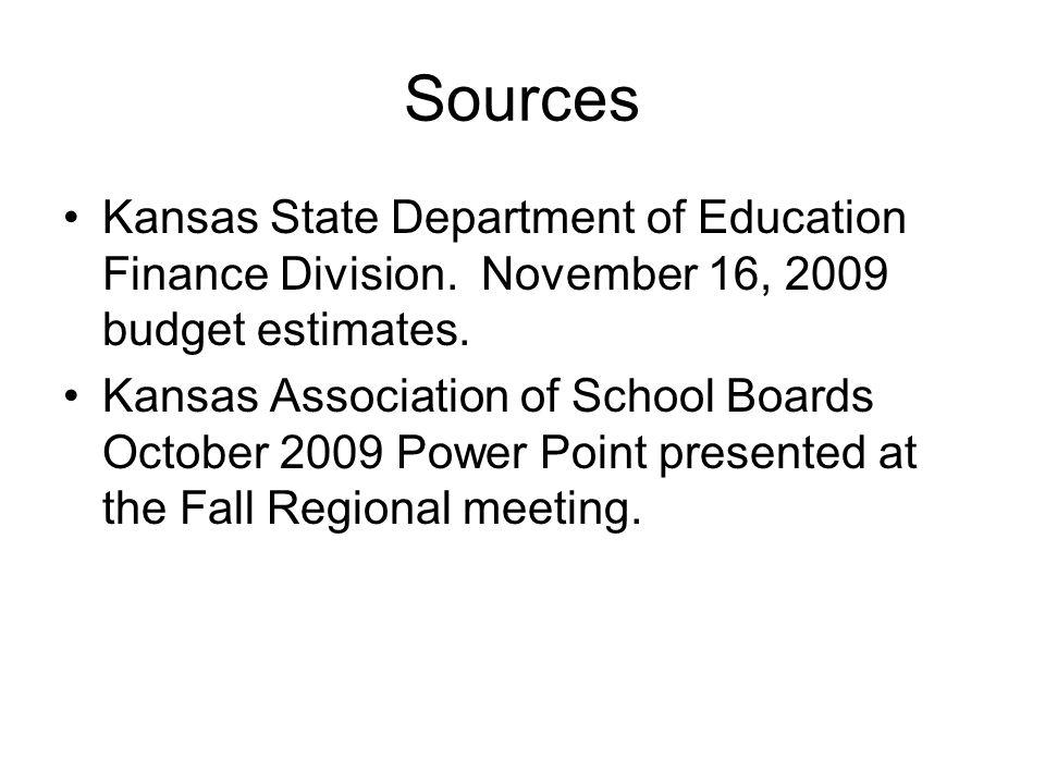 Sources Kansas State Department of Education Finance Division. November 16, 2009 budget estimates. Kansas Association of School Boards October 2009 Po