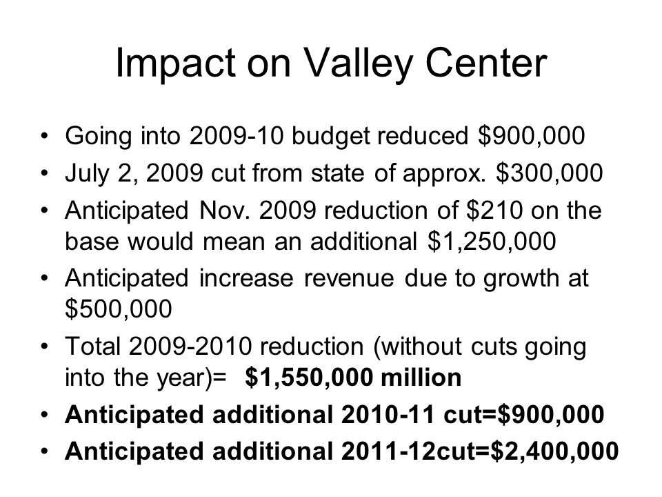 Impact on Valley Center Going into 2009-10 budget reduced $900,000 July 2, 2009 cut from state of approx.