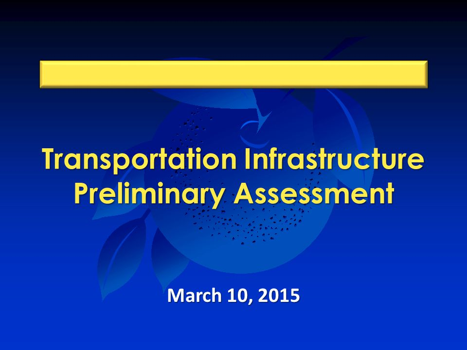Transportation Infrastructure Preliminary Assessment March 10, 2015