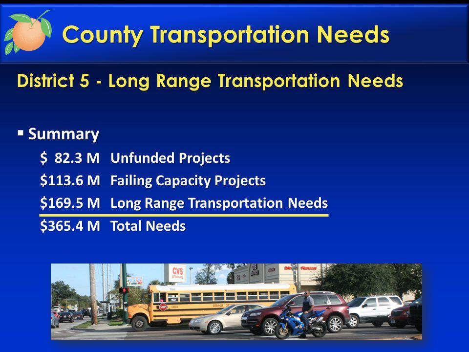 District 5 - Long Range Transportation Needs County Transportation Needs  Summary $ 82.3 MUnfunded Projects $113.6 MFailing Capacity Projects $169.5 MLong Range Transportation Needs $365.4 MTotal Needs