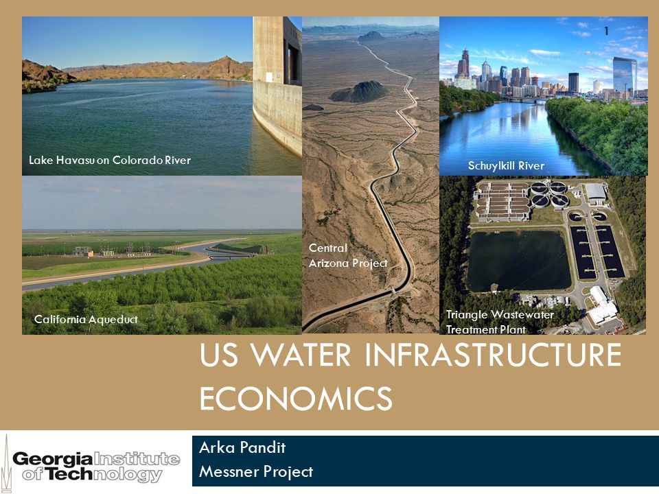 US WATER INFRASTRUCTURE ECONOMICS Arka Pandit Messner Project Lake Havasu on Colorado River California Aqueduct Schuylkill River Central Arizona Project Triangle Wastewater Treatment Plant 1