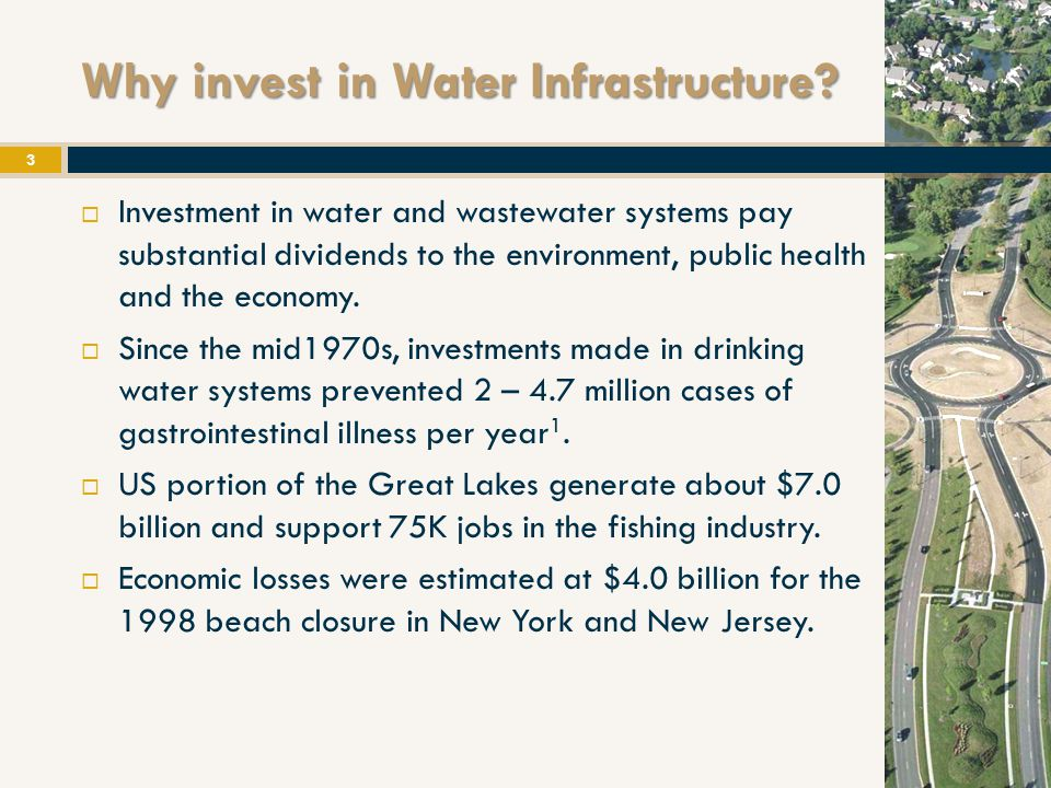 References: 2009 ASCE Georgia Infrastructure Report Card America's Infrastructure report Card, ASCE, 2009 AWWA Issue Agenda, Job creation 'Sudden Impact' – a Clean Water Council Report, 2009 'Transforming Water: Water Efficiency as Stimulus and Long ‐ Term Investment', Alliance for Water Efficiency, 2008 'Clean & Safe Water for the 21 st Century' – A Water Infrastructure Network Report 'Drinking Water Infrastructure Needs Survey and Assessment', Third Report to Congress, Environmental Protection Agency (2005).