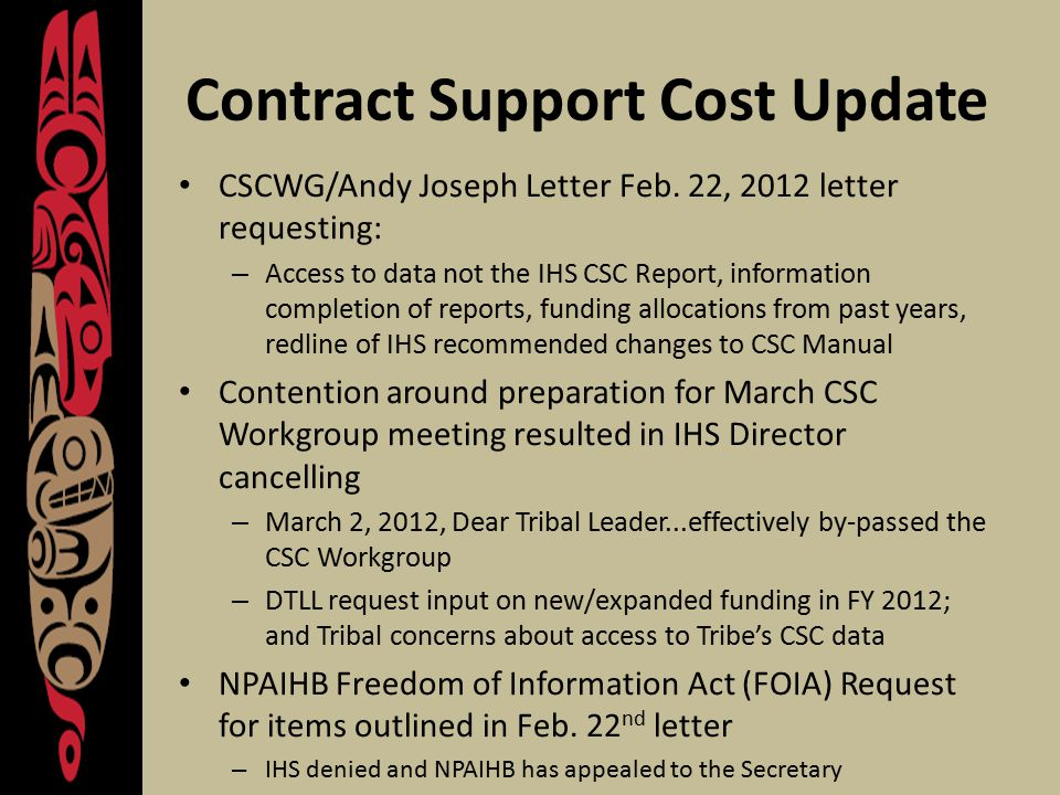Contract Support Cost Update CSCWG/Andy Joseph Letter Feb.