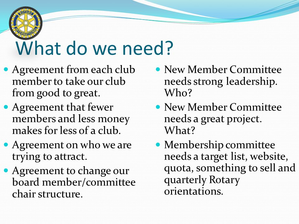 What do we need. Agreement from each club member to take our club from good to great.