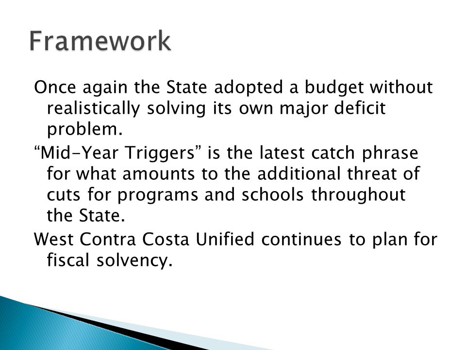Once again the State adopted a budget without realistically solving its own major deficit problem.