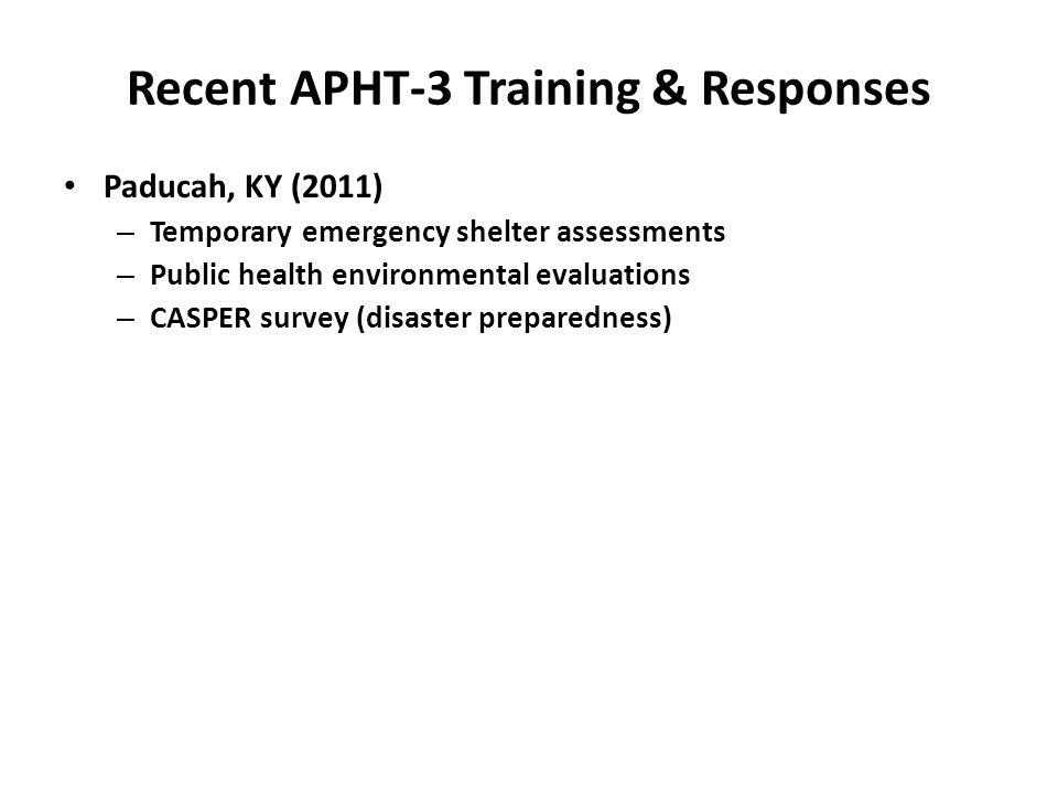 Paducah, KY (2011) – Temporary emergency shelter assessments – Public health environmental evaluations – CASPER survey (disaster preparedness) Recent