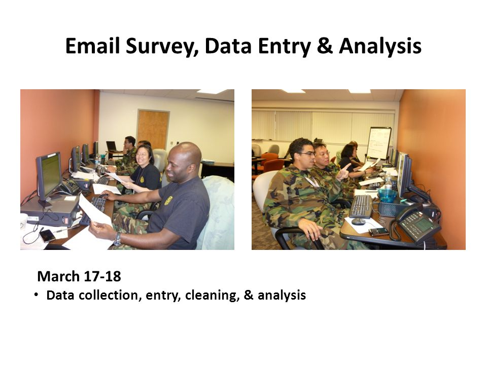 Email Survey, Data Entry & Analysis March 17-18 Data collection, entry, cleaning, & analysis