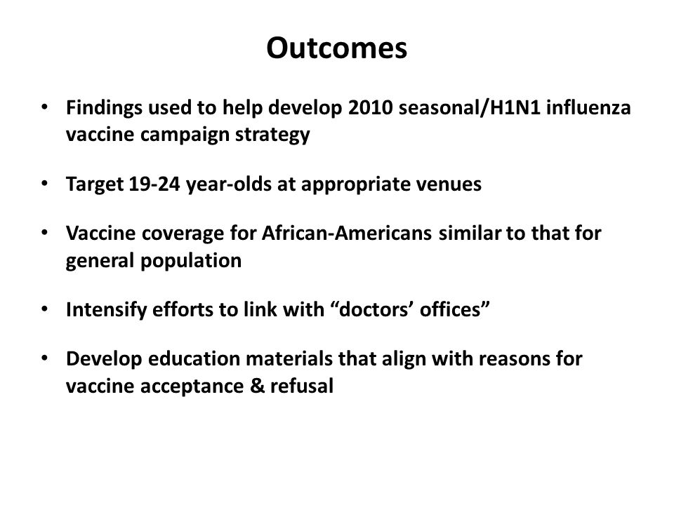 Outcomes Findings used to help develop 2010 seasonal/H1N1 influenza vaccine campaign strategy Target 19-24 year-olds at appropriate venues Vaccine coverage for African-Americans similar to that for general population Intensify efforts to link with doctors' offices Develop education materials that align with reasons for vaccine acceptance & refusal