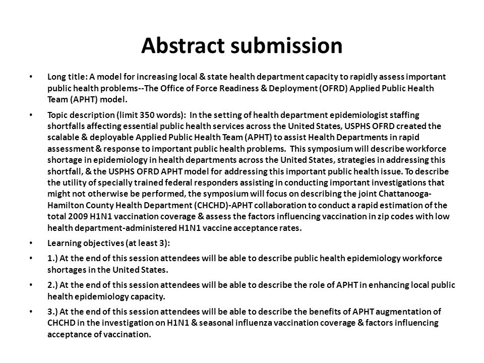 Abstract submission Long title: A model for increasing local & state health department capacity to rapidly assess important public health problems--Th