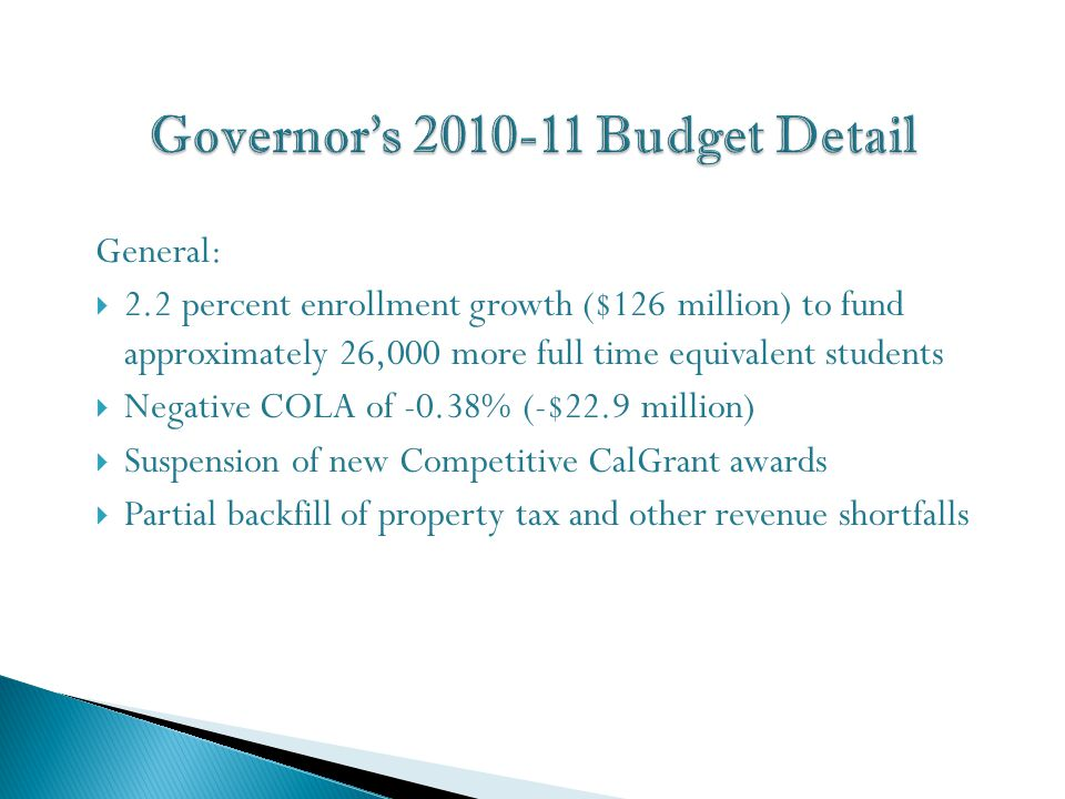 General:  2.2 percent enrollment growth ($126 million) to fund approximately 26,000 more full time equivalent students  Negative COLA of -0.38% (-$22.9 million)  Suspension of new Competitive CalGrant awards  Partial backfill of property tax and other revenue shortfalls