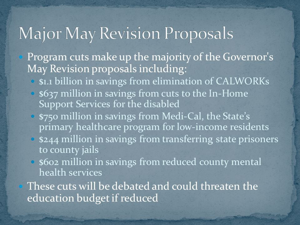 Program cuts make up the majority of the Governor's May Revision proposals including: $1.1 billion in savings from elimination of CALWORKs $637 millio