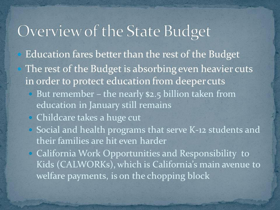 Education fares better than the rest of the Budget The rest of the Budget is absorbing even heavier cuts in order to protect education from deeper cut