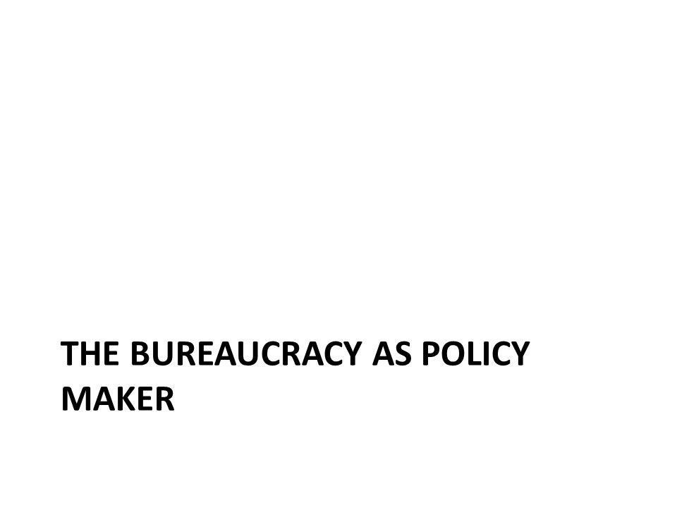THE BUREAUCRACY AS POLICY MAKER