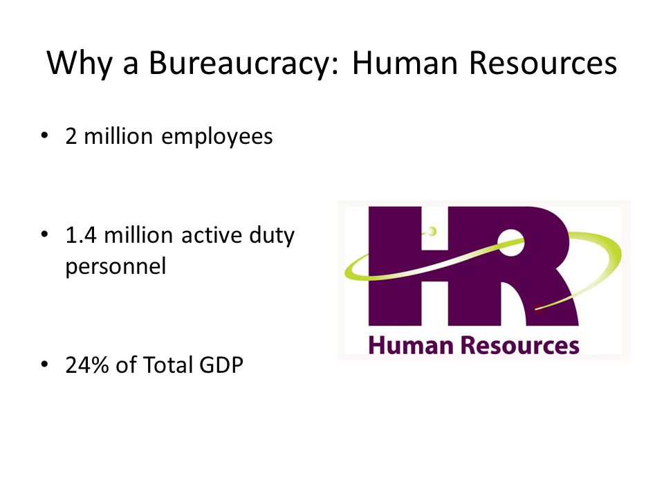 Why a Bureaucracy: Human Resources 2 million employees 1.4 million active duty personnel 24% of Total GDP