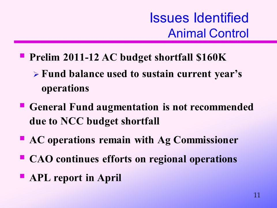 Issues Identified Animal Control  Prelim 2011-12 AC budget shortfall $160K  Fund balance used to sustain current year's operations  General Fund augmentation is not recommended due to NCC budget shortfall  AC operations remain with Ag Commissioner  CAO continues efforts on regional operations  APL report in April 11