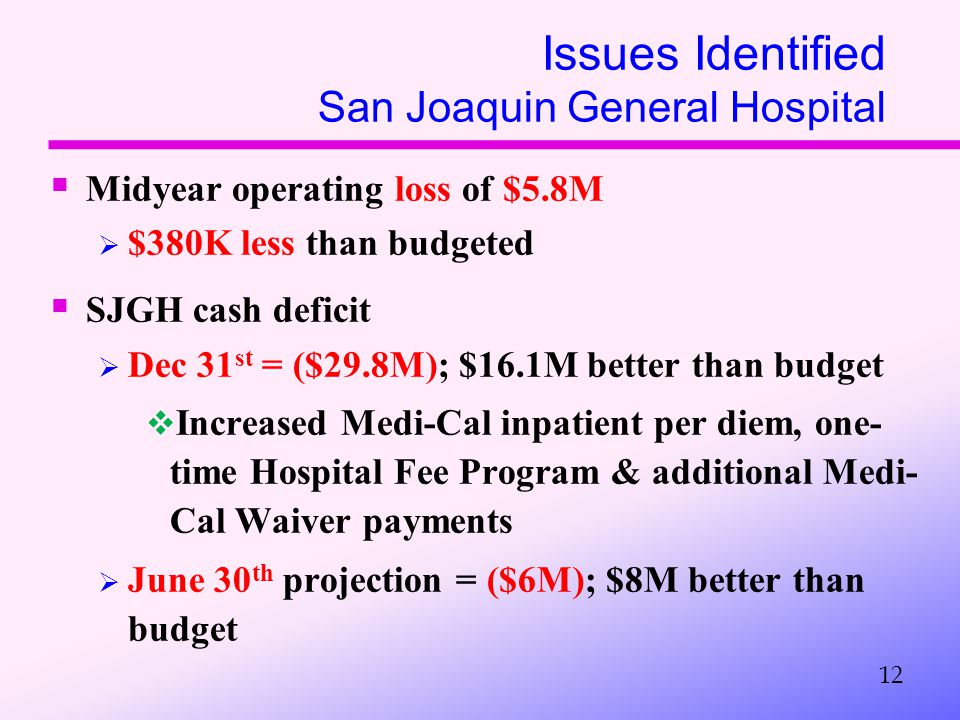 Issues Identified San Joaquin General Hospital  Midyear operating loss of $5.8M  $380K less than budgeted  SJGH cash deficit  Dec 31 st = ($29.8M); $16.1M better than budget  Increased Medi-Cal inpatient per diem, one- time Hospital Fee Program & additional Medi- Cal Waiver payments  June 30 th projection = ($6M); $8M better than budget 12