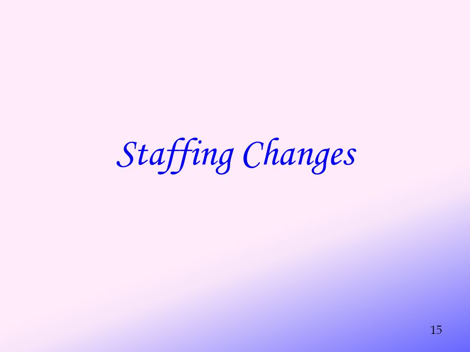 Staffing Changes 15