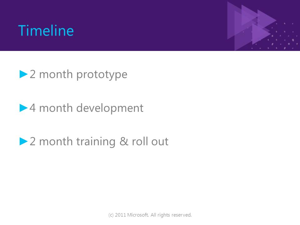Timeline ► 2 month prototype ► 4 month development ► 2 month training & roll out (c) 2011 Microsoft. All rights reserved.