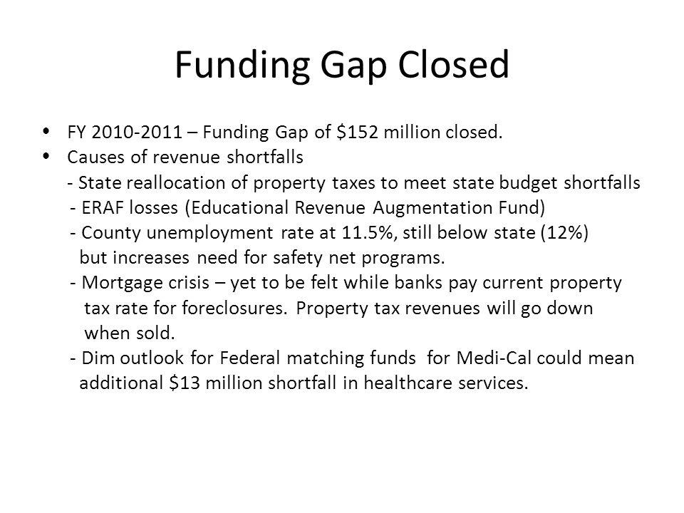 Funding Gap Closed  FY 2010-2011 – Funding Gap of $152 million closed.