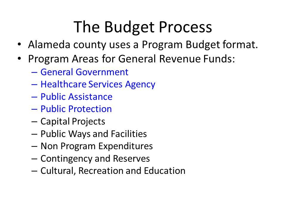 The Budget Process Alameda county uses a Program Budget format.