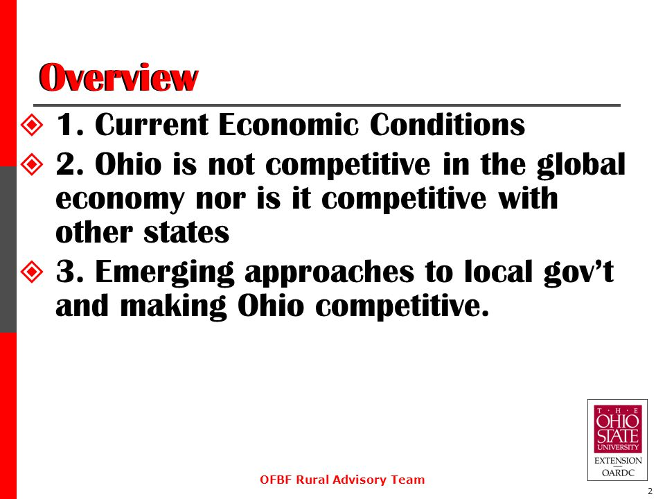Overview  1. Current Economic Conditions  2.
