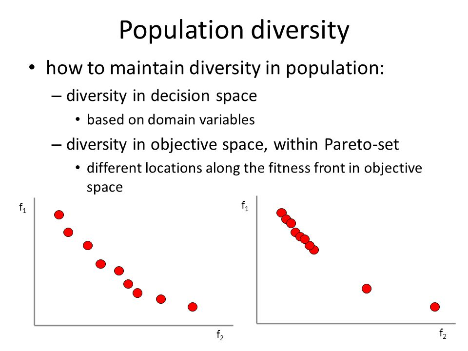 Population diversity diversity in objective space – fitness sharing fitness from pareto front calculation distance between solutions i and j in same pareto-front neighbourhood f1f1 f2f2 f1f1 f2f2 d(i,j)