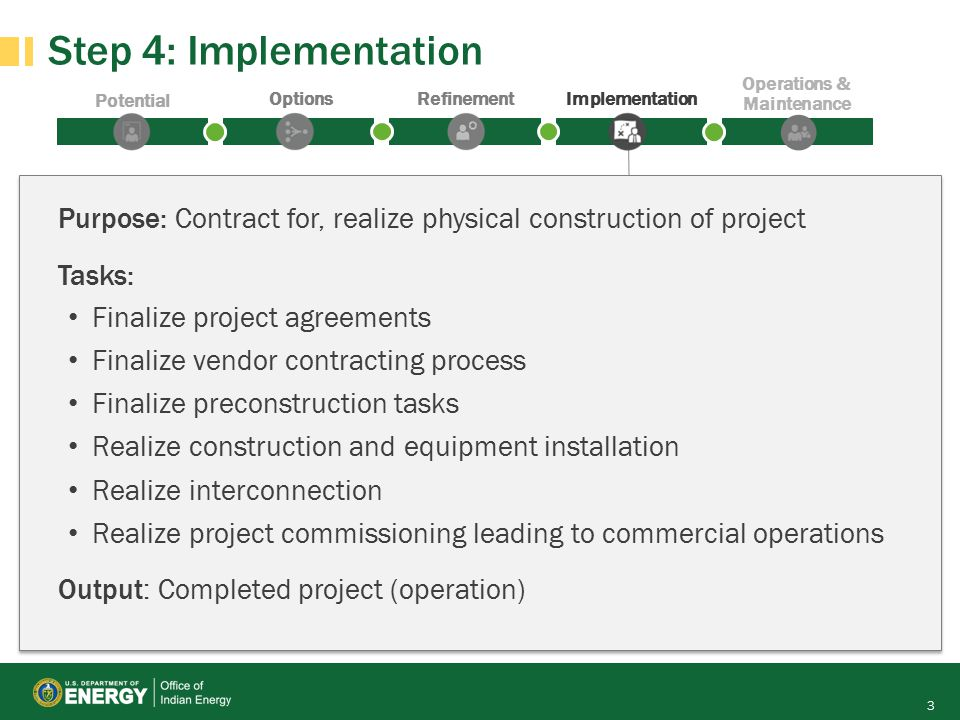 Potential OptionsRefinementImplementation Operations & Maintenance Step 4: Implementation 3 Purpose: Contract for, realize physical construction of project Tasks: Finalize project agreements Finalize vendor contracting process Finalize preconstruction tasks Realize construction and equipment installation Realize interconnection Realize project commissioning leading to commercial operations Output: Completed project (operation)