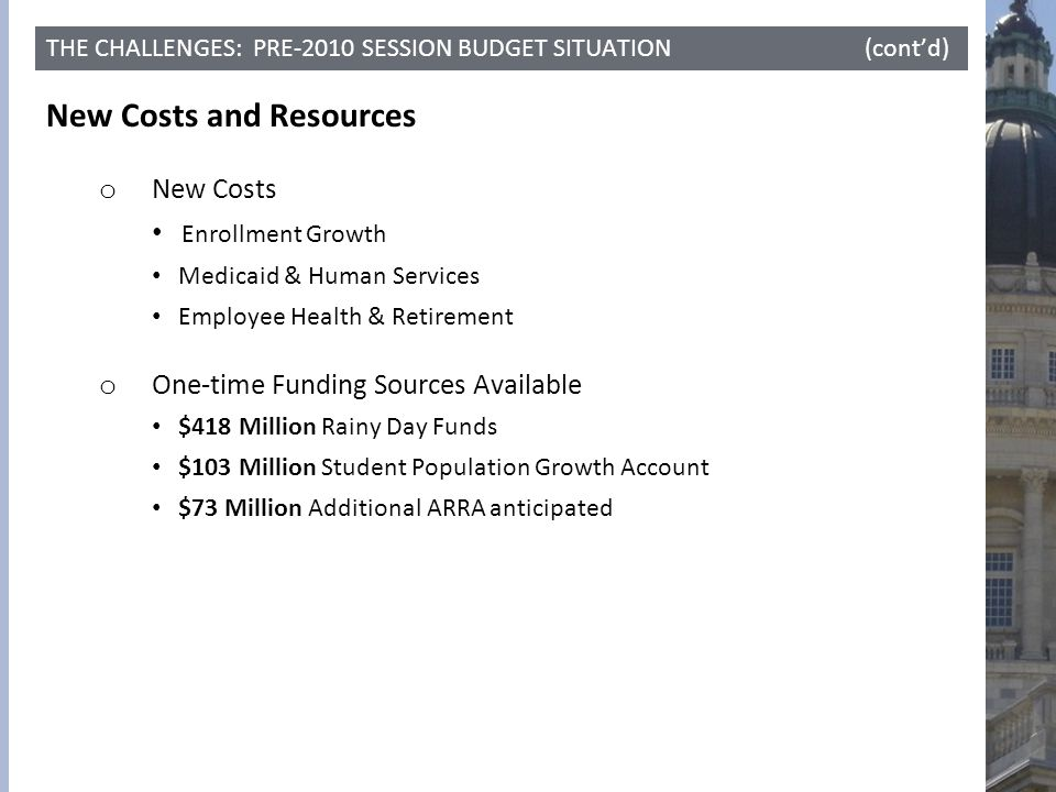 THE CHALLENGES: PRE-2010 SESSION BUDGET SITUATION (cont'd) New Costs and Resources o New Costs Enrollment Growth Medicaid & Human Services Employee He