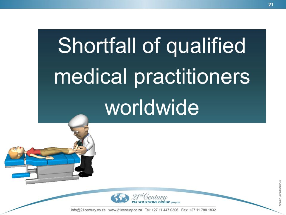 21 Shortfall of qualified medical practitioners worldwide