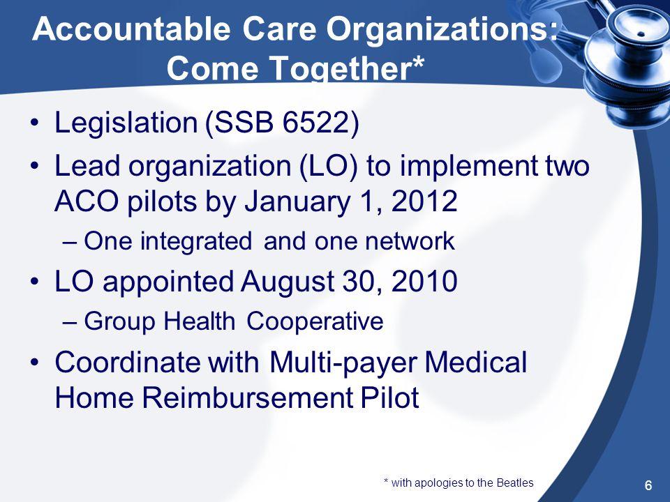 Multi-Payer Medical Home Reimbursement Pilot: Money*Money* Legislation authorizes State and PSHA to convene participant group August, 2009 Eight regio