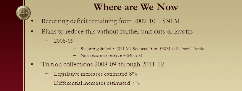 Where are We Now Recurring deficit remaining from 2009-10 ~$30 M Plans to reduce this without further unit cuts or layoffs – 2008-09 – Recurring deficit ~ ($11 M) Reduced from $30M with new funds – Non-recurring reserve ~ $40.5 M Tuition collections 2008-09 through 2011-12 – Legislative increases estimated 8% – Differential increases estimated 7%
