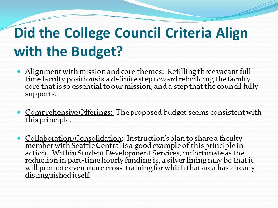 Did the College Council Criteria Align with the Budget? Alignment with mission and core themes: Refilling three vacant full- time faculty positions is