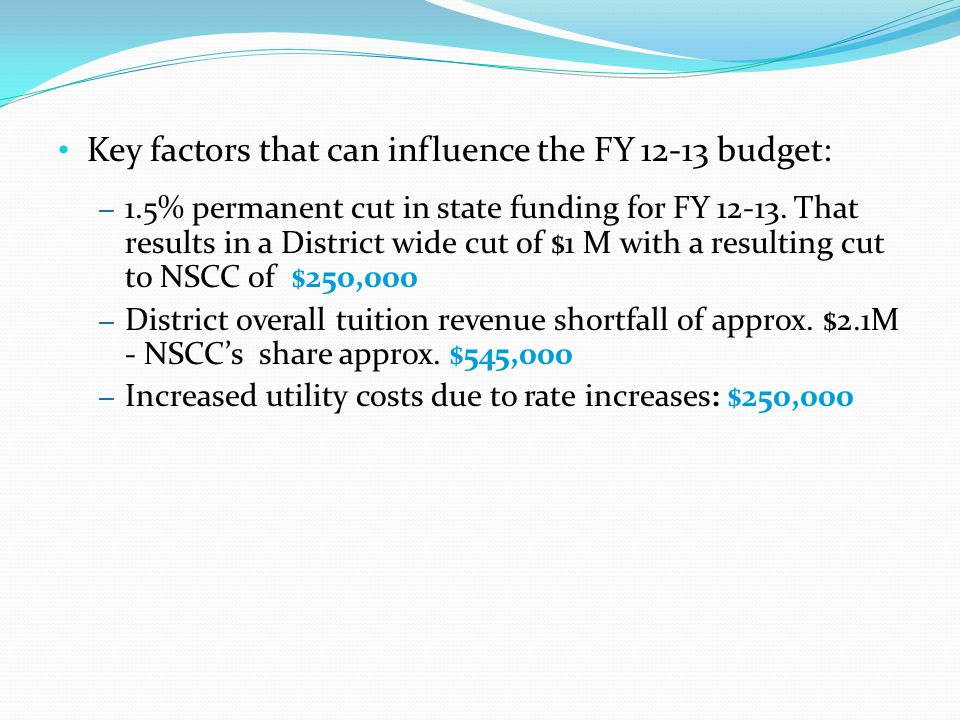 Key factors that can influence the FY 12-13 budget: – 1.5% permanent cut in state funding for FY 12-13.