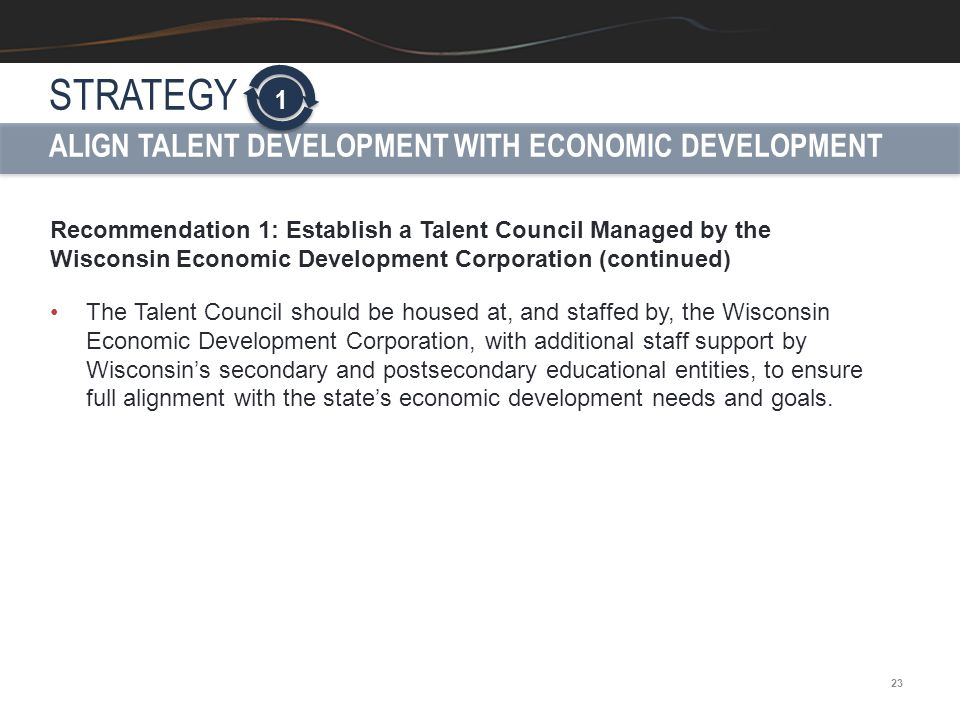 23 Recommendation 1: Establish a Talent Council Managed by the Wisconsin Economic Development Corporation (continued) The Talent Council should be hou