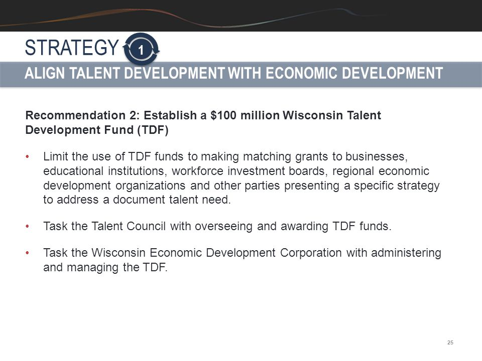 25 Recommendation 2: Establish a $100 million Wisconsin Talent Development Fund (TDF) Limit the use of TDF funds to making matching grants to business