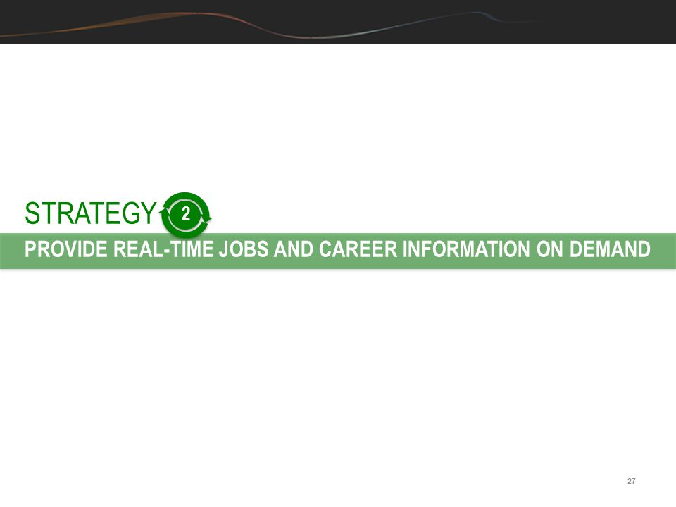 27 STRATEGY PROVIDE REAL-TIME JOBS AND CAREER INFORMATION ON DEMAND 2