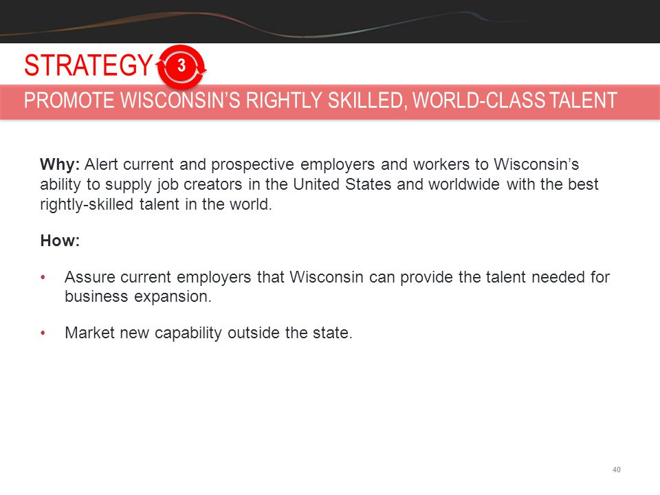 40 Why: Alert current and prospective employers and workers to Wisconsin's ability to supply job creators in the United States and worldwide with the