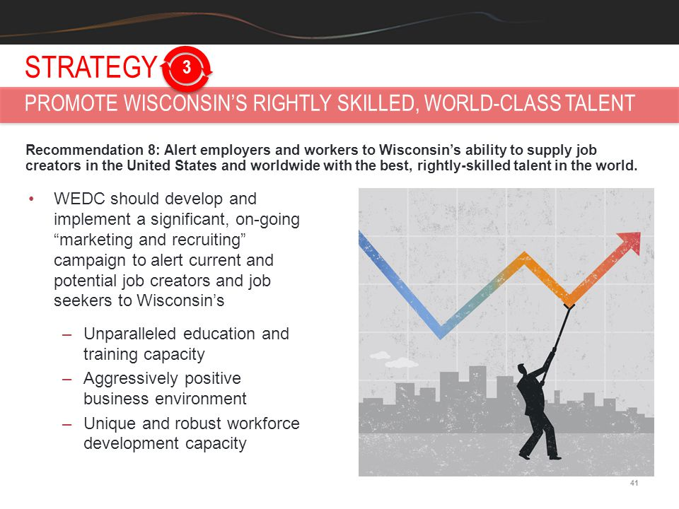 41 Recommendation 8: Alert employers and workers to Wisconsin's ability to supply job creators in the United States and worldwide with the best, right
