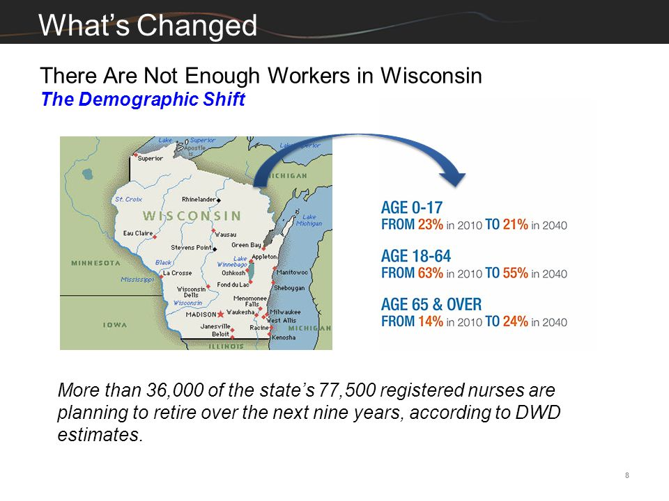 8 What's Changed More than 36,000 of the state's 77,500 registered nurses are planning to retire over the next nine years, according to DWD estimates.