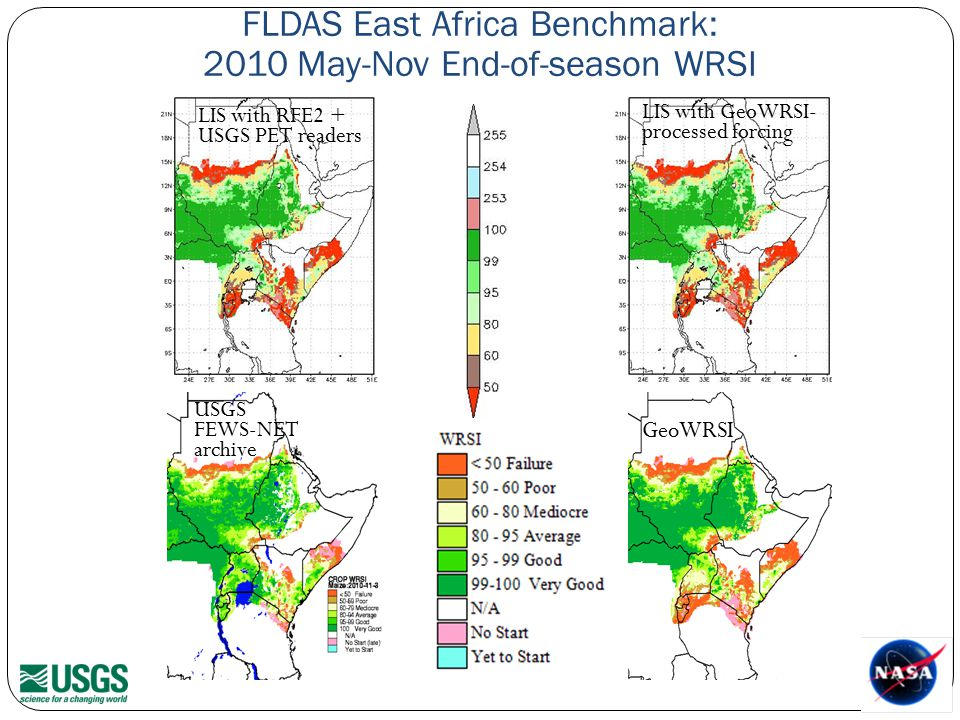 FLDAS East Africa Benchmark: 2010 May-Nov End-of-season WRSI USGS FEWS-NET archive GeoWRSI LIS with RFE2 + USGS PET readers LIS with GeoWRSI- processed forcing