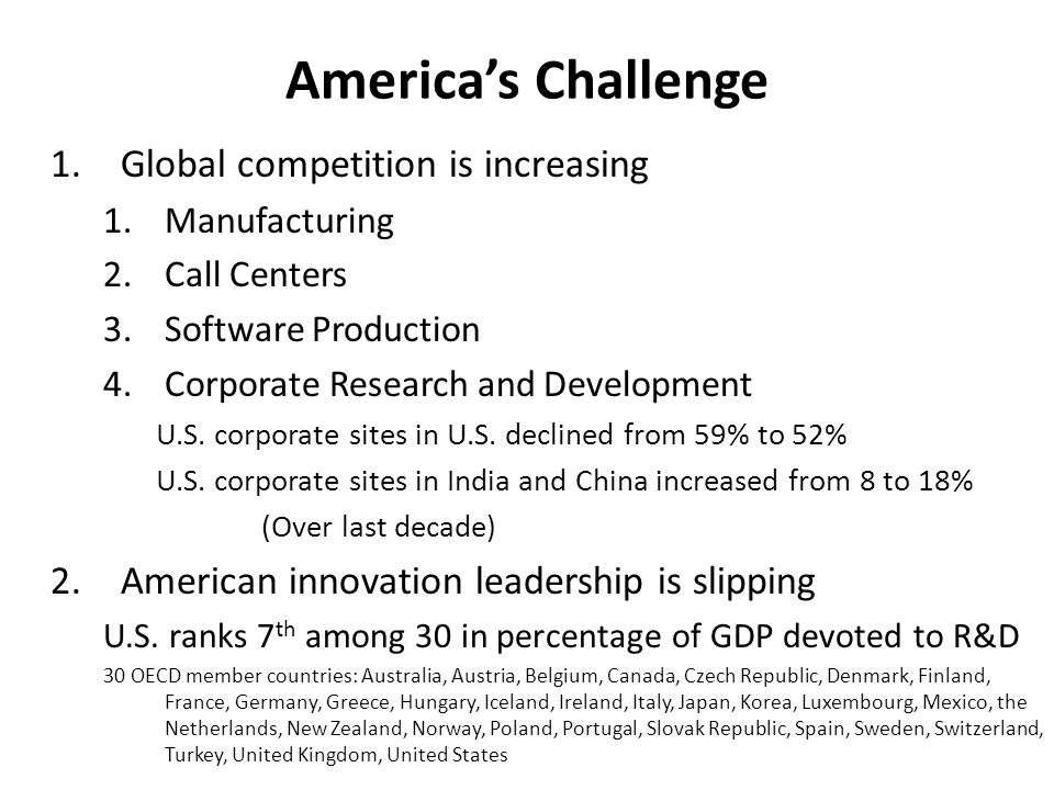 1.Global competition is increasing 1.Manufacturing 2.Call Centers 3.Software Production 4.Corporate Research and Development U.S.