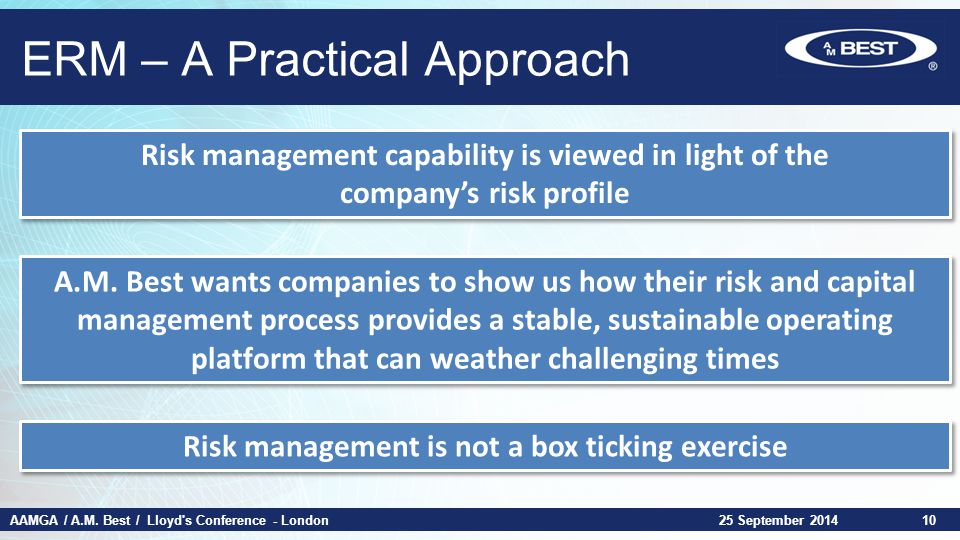 AAMGA / A.M. Best / Lloyd's Conference - London ERM – A Practical Approach 25 September 201410 Risk management capability is viewed in light of the co