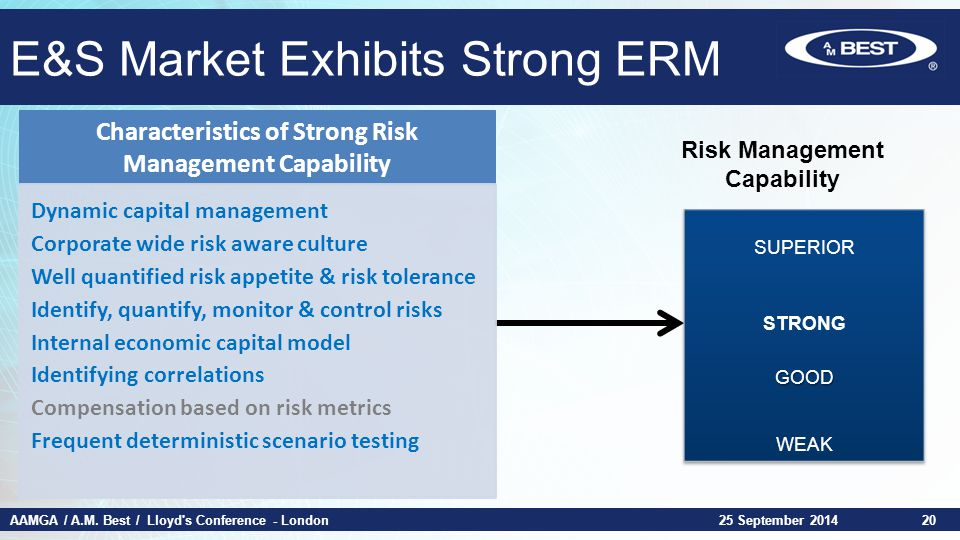 AAMGA / A.M. Best / Lloyd's Conference - London25 September 201420 Risk Management Capability E&S Market Exhibits Strong ERM Characteristics of Strong